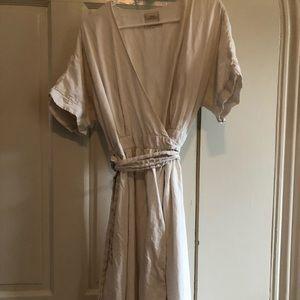 UO white linen maxi wrap dress